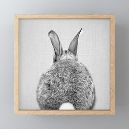 Rabbit Tail - Black & White Framed Mini Art Print