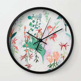 Abstract Jungle Floral on Pink and White Wall Clock