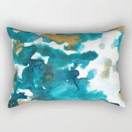 Aqua Teal Gold Abstract Painting #1 #ink #decor #art #society6 Rectangular Pillow