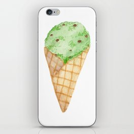Watercolour Illustrated Ice Cream - Mint Choc Chip iPhone Skin