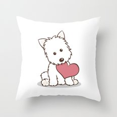 Westie Dog with Love Illustration Throw Pillow