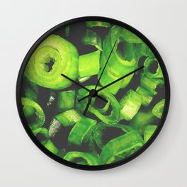 Sliced ring pieces of green onion Wall Clock