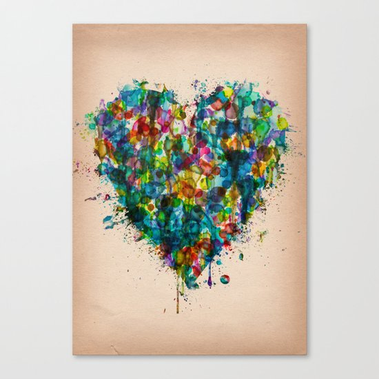 Heart Splatter Canvas Print
