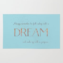 Always remember to fall asleep with a dream - Gold Teal Vintage Glitter Typography Rug