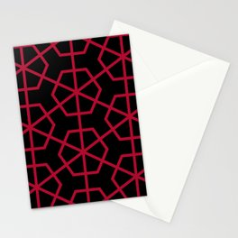 Geometric radial pattern in red and black Stationery Cards