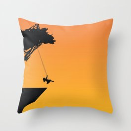 Fantastic Little Child On Tree Mounted Seesaw At Cliff Silhouette Ultra HD Throw Pillow