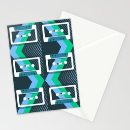 Mix Tapes Pattern Teal Blue Green Stationery Cards