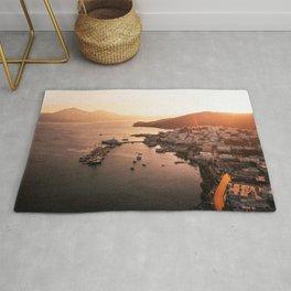 Milos port sunset - Cyclades Greece Rug