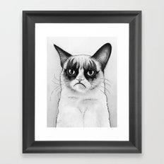 Grumpy Simmons Cat Whimsical Funny Animal Music Framed Art Print