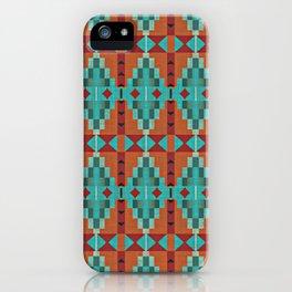 Orange Red Aqua Turquoise Teal Native Mosaic Pattern iPhone Case