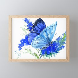 Blue Butterfly, blue butterfly lover blue room design floral nature Framed Mini Art Print