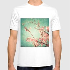 Pink Autumn Leafs on Blue Textured Sky (Vintage Nature Photography) Mens Fitted Tee MEDIUM White
