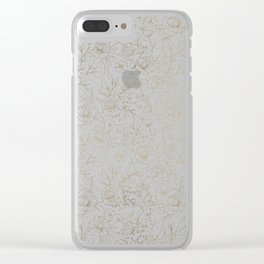 Elegant simple modern faux gold white floral Clear iPhone Case