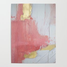 Melody: a pretty minimal abstract painting in gold pink and white by Alyssa Hamilton Art Poster