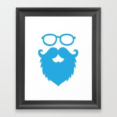 Hipster Beard Blue Framed Art Print