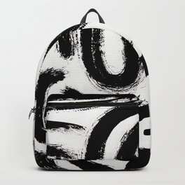 Black and White Abstract Pattern 1: A minimal black and white pattern by Alyssa Hamilton Art Backpack