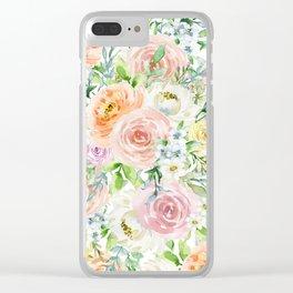 Pastel romantic garden Clear iPhone Case