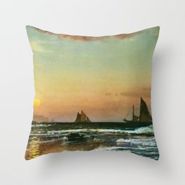 'Sunset on the Coast' maritime / nautical landscape painting Throw Pillow