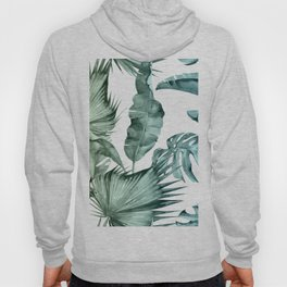 Tropical Palm Leaves Turquoise Green Blue Gradient Hoody