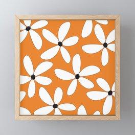 Happy Flowers Orange Framed Mini Art Print