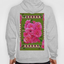 VIBRANT PINK ROSES ON MOSS GREEN PATTERN Hoody