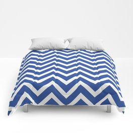 blue, white zig zag pattern design Comforters