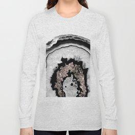 Gray Black White Agate with Rose Gold Glitter #1 #gem #decor #art #society6 Long Sleeve T-shirt