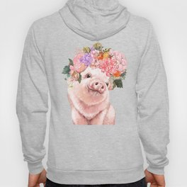 Lovely Baby Pig with Flowers Crown Hoody