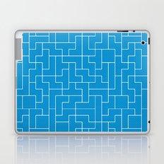 White Tetris Pattern on Blue Laptop & iPad Skin