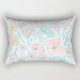 Poppies | Mint and Peach Palette Rectangular Pillow