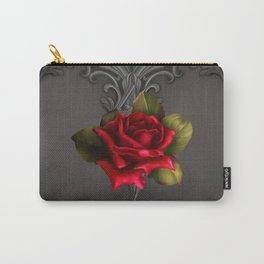 Gothic Glamour Red Rose Black Ornamental Glam Carry-All Pouch