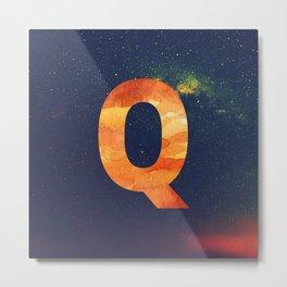 Fire Space Galaxy Initial Monogram Letter Q Metal Print