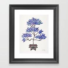 Bonsai Tree – Navy Palette Framed Art Print
