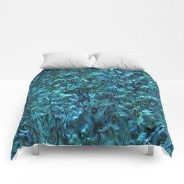 Abalone Shell   Paua Shell   Cyan Blue Tint Comforters