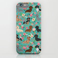 Dachshund florals flower pet portrait dog art dachsie doxie pet art dog breeds iPhone 6 Slim Case