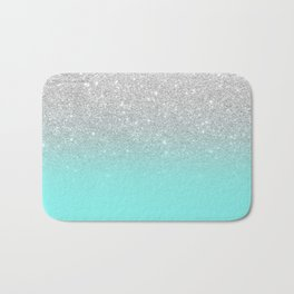 Modern girly faux silver glitter ombre teal ocean color bock Bath Mat