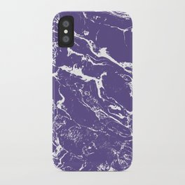 Modern trendy purple ultra violet  white marble  pattern iPhone Case