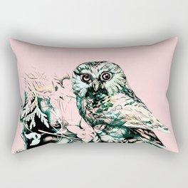 Spring owl on a pink background Rectangular Pillow