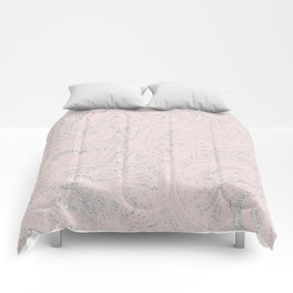 Blush pink elegant silver glitter abstract marble Comforters