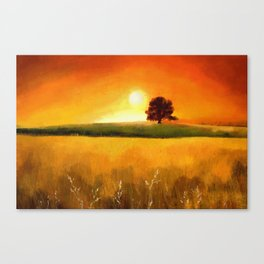 Painting of a landscape with a tree Canvas Print