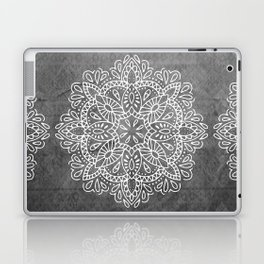 Mandala Vintage White on Ocean Fog Gray Laptop & iPad Skin