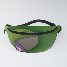 Abstract geometric round shapes on green Fanny Pack