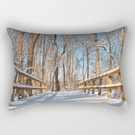 Susquehanna Winter Forest Bridge Rectangular Pillow