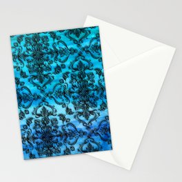 Black Filigree Pattern on Ink Blue Watercolor Stationery Cards