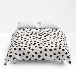 Preppy brushstroke free polka dots black and white spots dots dalmation animal spots design minimal Comforters