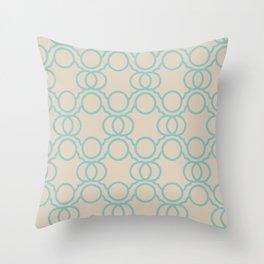 Aquamarine Beige Geometric Circle Pattern Color of the Year Aqua Fiesta and Sourdough Throw Pillow