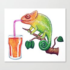 Chameleons Love Orange Juice Canvas Print