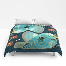 Beautiful Art Deco Midnight Bluebirds And Blossoms Comforters