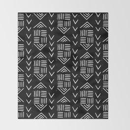 mudcloth 6 minimal textured black and white pattern home decor minimalist Throw Blanket