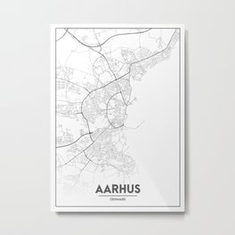 Minimal City Maps - Map Of Aarhus, Denmark. Metal Print